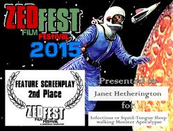 Second place winner 2015 Zed Fest Film festival